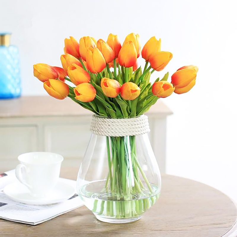Joy-Enlife 10pcs Tulips Artificial Flower Real Touch  Tulipe Flowers Decoration Fake Tulips  Wedding Decoration Flowers Decor