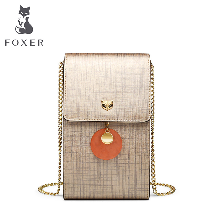 FOXER Brand Women's Small Shoulder Bags Girl's Leather Chain Crossbody Bag Cellphone Bags