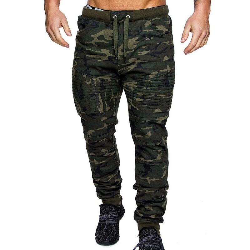 MoneRffi Camo Printed Pleated Fitness Pants Military Style Streetwear Joggers Camofluage Sweatpants Trousers Moletom Masculino