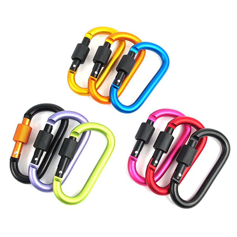 Roller design Buckle Aluminum Alloy Automatic Lock Self-locking Hanging Keychain Hook Outdoor Buckle No need to sew