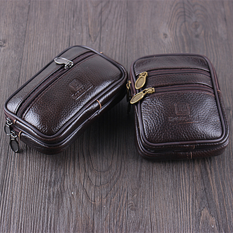 BISI GORO Wear Belt Pocket Phone Coin Waist Bag Vintage Cow Leather Multi-function Men Waist Pack Wear-resistant Outdoor Purse