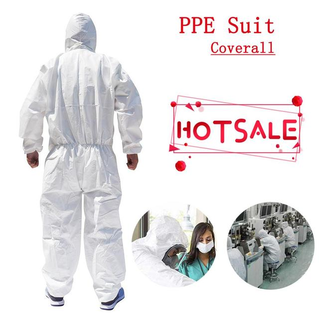 Disposable Hoodies Jumpsuit Coveralls Gown Dust-proof Isolation Clothes Labour Suit Security Protection Hooded Clothing PPE Suit
