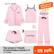 JULY #8217 S SONG Pink 7 Pieces Women #8217 s Pajamas Sets Faux Silk Striped Pyjama Women #8217 s Pajamas Sleepwear Sets Spring Summer Homewear cheap JULY S SONG Polyester Solid Turn-down Collar Full Length CN(Origin) Autumn A8E0101-0028 Normal 7 pieces pajamas sets Spring Summer