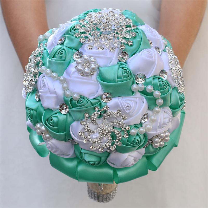 WifeLai-A Mint Green Silk Flowers Bouquet Romantic Pearl Holding Flowers Bridesmaid Bouquet White Satin Wedding Bouquets W3217D
