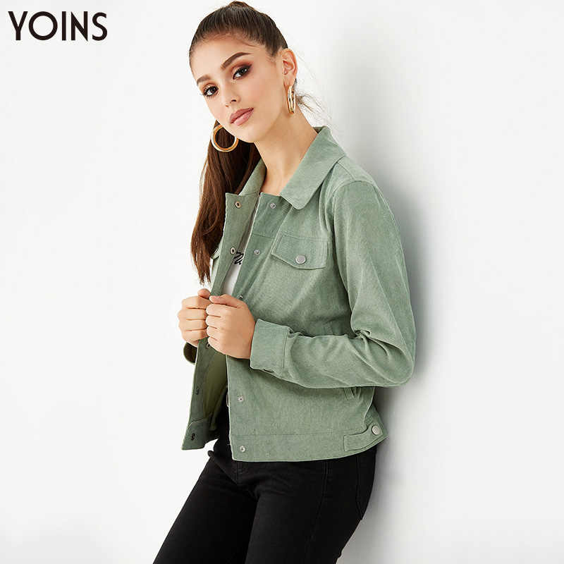 YOINS Corduroy Coats Button Front Classical Collar Long Sleeve Jackets 2020 Female Casual Outwear Mint Green Spring Autumn Femme