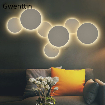 Nordic Round Wall Lamps Modern Moon Lamp for Bedroom Bedside Stair Wall Sconce Light Fixtures Led Mirror Lights Home Art Deco