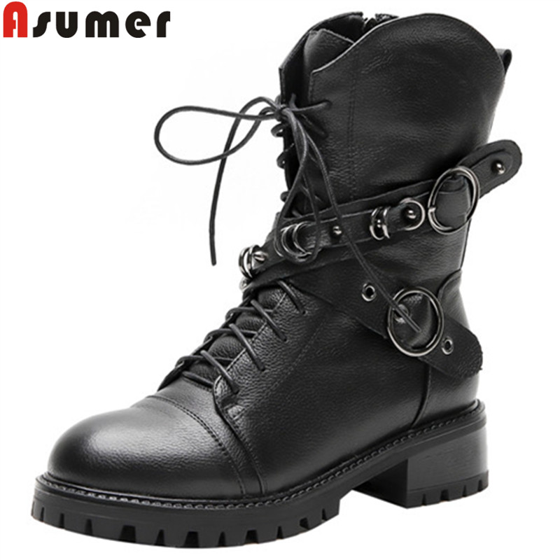 ASUMER Winter Boots Motorcycles Genuine-Leather Heels Autumn Ladies New Classic Zip Square