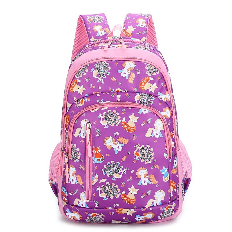 Schoolbag For Elementary School Students Backpack Casual Backpack Printed Contrast Color Cute Cartoon Bag 1-6 Grade