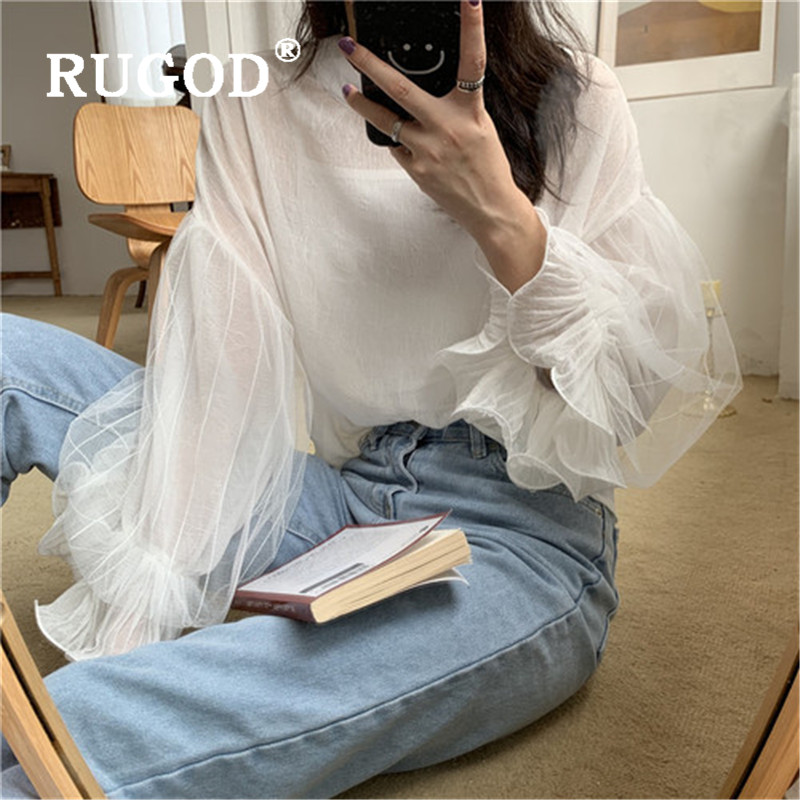 RUGOD <font><b>2019</b></font> New Women Solid Loose <font><b>Sexy</b></font> Shirt With Camis O-neck Long Flare Sleeves <font><b>Mesh</b></font> Patchwork <font><b>Blouse</b></font> Korean Casual Blusa Mujer image