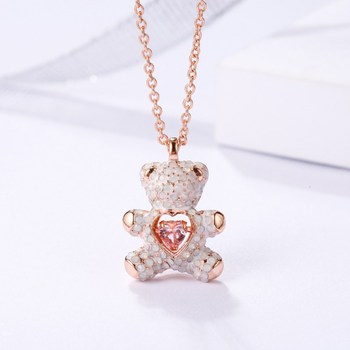 Flickering Series The Beating Heart Teddy Bear Chokers Necklace with Shiny Crystle for Women Party Luxury Jewelry BL-00011 image