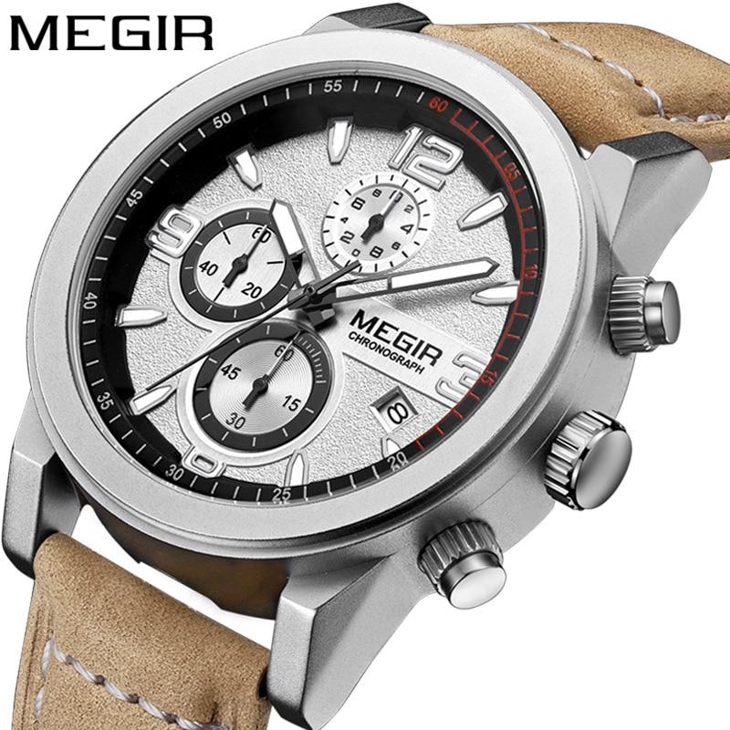 Men Relogio Masculino MEGIR Hours Clock Reloj Men's Watch Three Eyes Luminous Waterproof Sports Watches Leather Watch Male saati