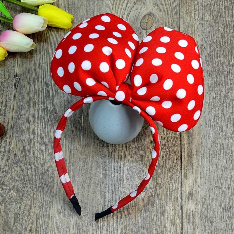 Disney Cartoon Stereo Minnie Headband Red Wave Point Headband Minnie Bow Hair Accessories Mickey Ear Headband Pretend Makeup
