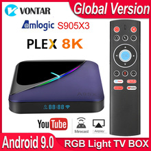 A95x F3 rgbライトアンドロイドテレビボックスアンドロイド9 9.0 amlogic S905X3スマートtvボックスUSB3.0 H.265 8 18k 60fps youtube plexメディアサーバー