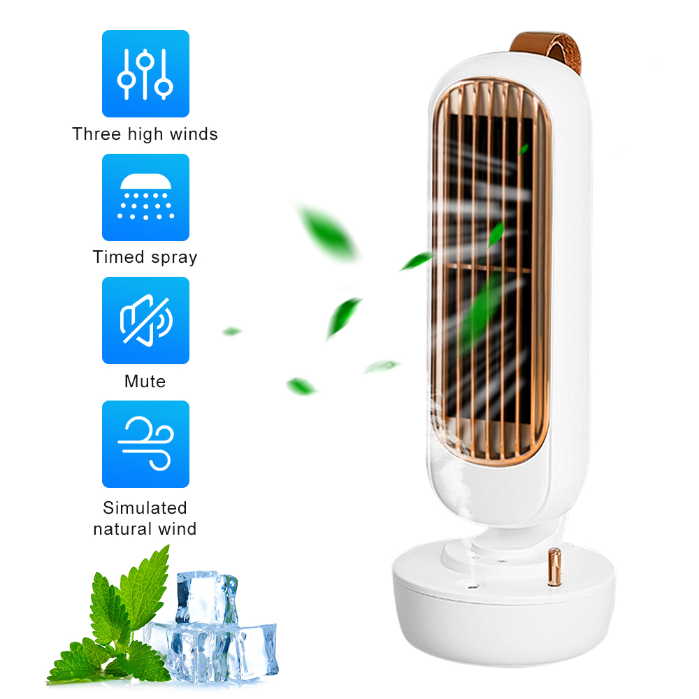 Bladeless Fan Air Conditioner Spray Humidification Electric Cooler  Retro Summer Fan Desktop For Home Bedroom Kitchen Office