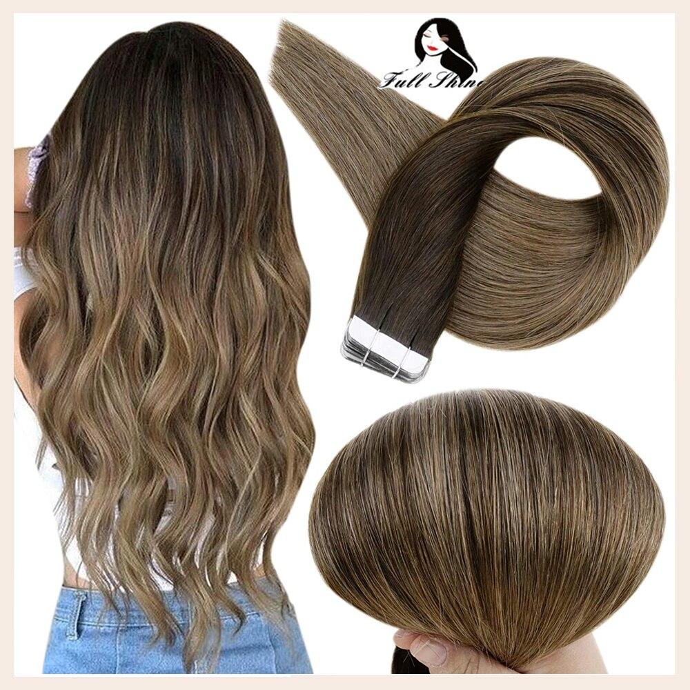 Полный блеск ленты в человеческие волосы для наращивания балаяж цвет 50 г 20 шт 100% машина Remy человеческие волосы лента на волосы для наращиван...