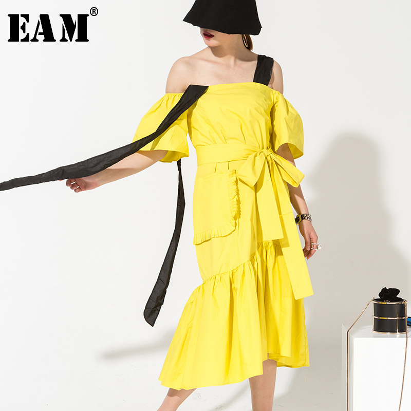 [EAM] 2020 Summer New Fashion Temperament Flounced Stripe Black Lace Loose Casual Ruffles Hem Dress Double Pocket Women SM12207