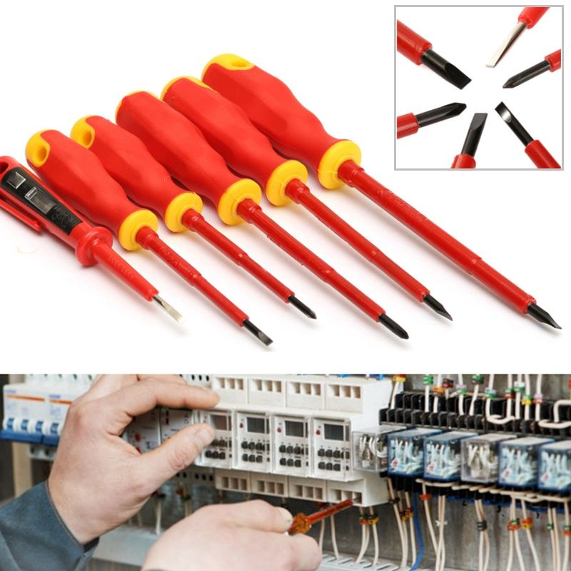 Practical 6pcs/set VDA Electricians Screwdriver Set Electrical Insulated Kit Hand Tools Top Quality