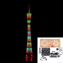 DIY 32 레이어 다채로운 LED 캔톤 타워 블루투스 깜박이 큐브 음악 스펙트럼 야간 조명 적외선 원격 제어 전자 키트