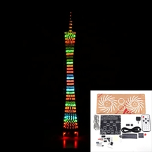 DIY 32 Layer Colorful LED Canton Tower bluetooth Flashing Cube Music Spectrum Night light Infrared Remote Control Electronic Kit