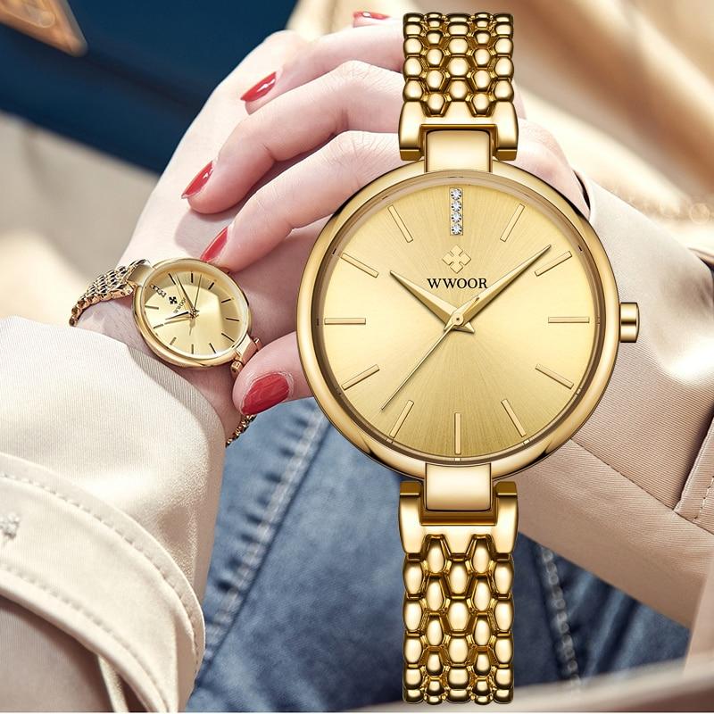 WWOOR Fashion Womens Watches Gold Bracelet Watch stainless steel Casual Quartz Ladies Wristwatch Waterproof Clock Zegarek Damski