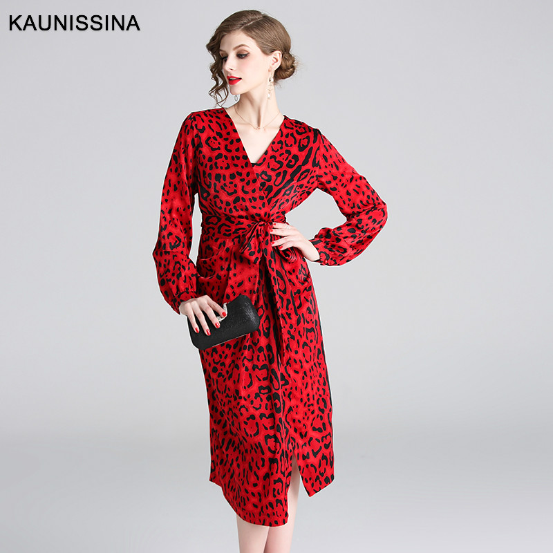 KAUNISSINA Vintage Cocktail Dresses Red Leapord Lantern Lpng Sleeve V-neck Knee Length Party Robe Gown Spring Autumn