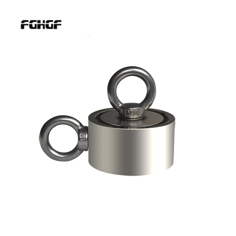 Strong Neodymium Magnet Double side Search magnet hook super power Salvage Fishing magnetic with Ring 48mm 60mm 67mm 75mm