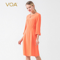 VOA true silk 40 mm rice heavy weight orange red crimped middle sleeve buckle design waist trim elegant dress AJ732
