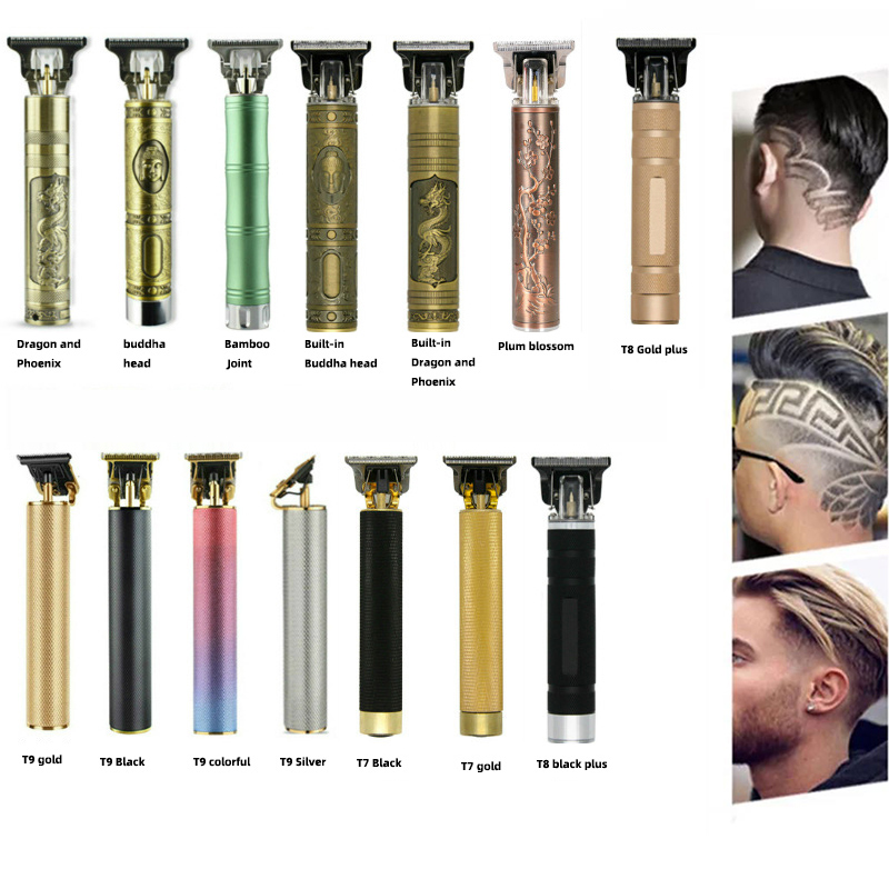 2021New Men Retro Oil Head Rechargeable Electric Buddha Hair Cut Machine Scissors Shaving T9 Trimmer Razor Beard Clipper Barber