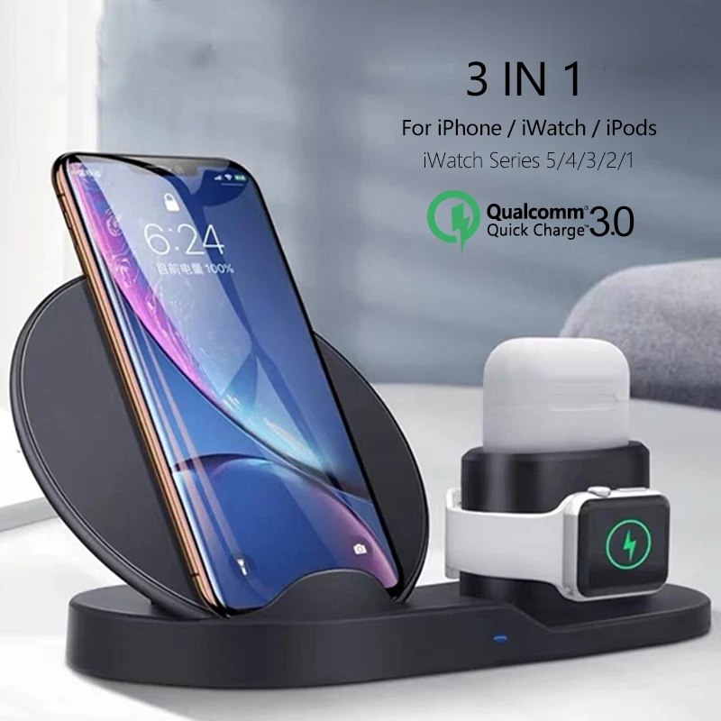 Qi Wireless Charger 3 in <font><b>1</b></font> Wireless Fast Charging Stand for Applw Watch <font><b>5</b></font> 4 3 2 <font><b>1</b></font> QC3.0 Quick Chargers Dock for iPhone Airpods image