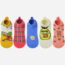 Spring and Summer Shallow Mouth Socks Fun New Cartoon Animal Cotton Comfortable Pink