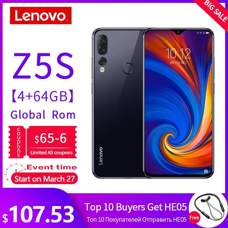 GLOBAL ROM Lenovo Smartphone Z5S 4/6GB 64/128GB Mobile Phone 6.3 Inch 2340*1080 Rear AI Zoom 3 Camera Octa Core 710 Processor