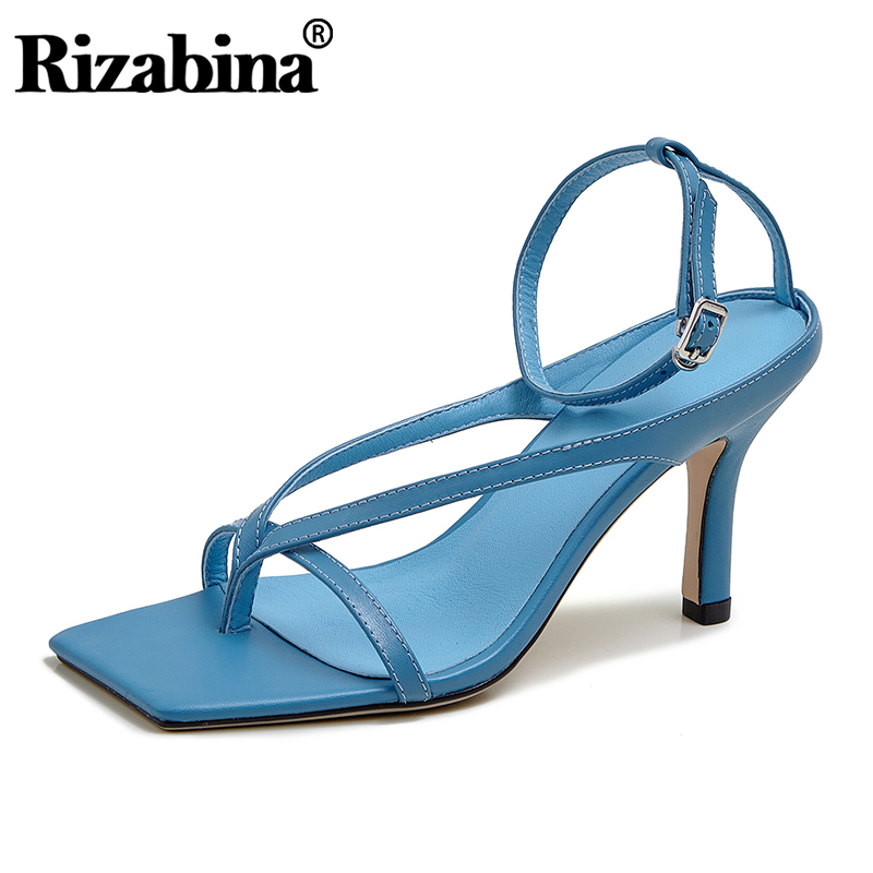 Rizabina Women Sandlas Genuine Leather High Heel Summer Shoes Woman Sexy Buckle Strap Party Office Lady Footwear Size 34-40