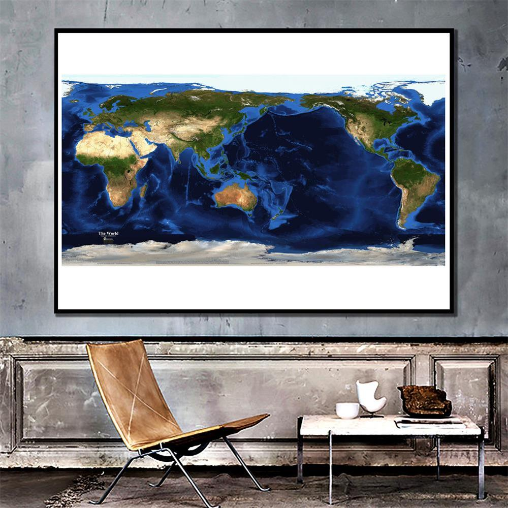 Satellite Map Of The World Topography And Bathymetry Non-woven Spray Painting Map 150x225cm