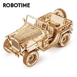 Robotime 1:18 369Pcs Retro Diy Beweegbare 3D Leger Jeep Houten Puzzel Spel Montage Speelgoed Cadeau Voor Kinderen Tieners Volwassen MC701
