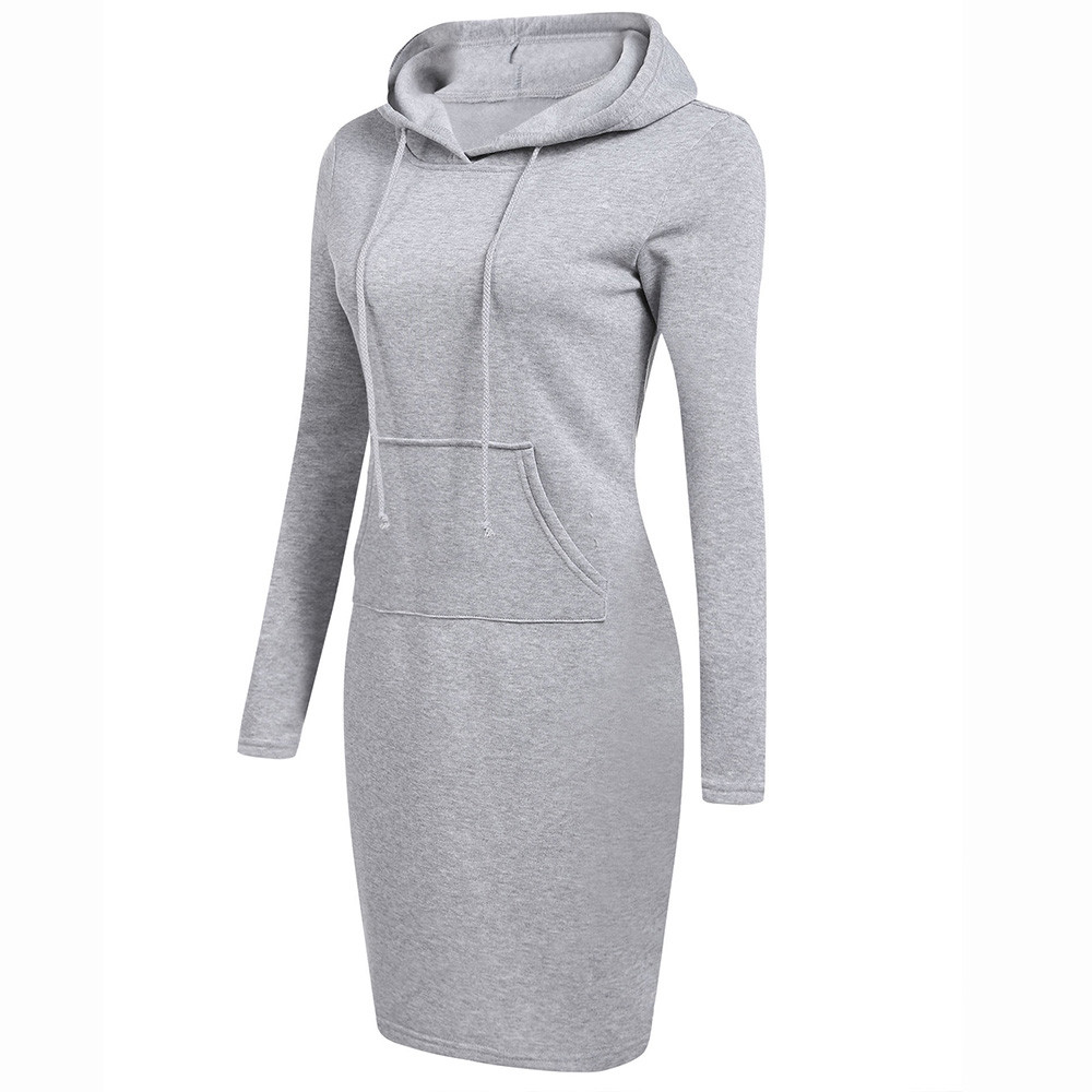 H90b6684c78cc4e14be1559e3e520162cC - Pink White Solid Comfortable Womens Long Sleeve Solid Patchwork O Neck Casual Long Hooded Sweatshirt Dress #LR2