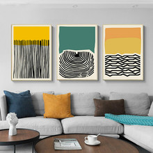 Yellow Green Modern Abstract Painting Canvas Poster Print Nordic Decoration Wall Art Decorative Picture Living Room Home Decor abstract canvas painting poster print wall art nordic green gold lines picture for living room bedroom decoration home decor