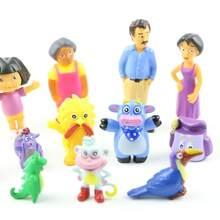 12 pçs/set Dora the Explorer Super Q Bonito Personagens Do Filme Figuras de Ação PVC Coleção Modelo Crianças Brinquedos de Natal