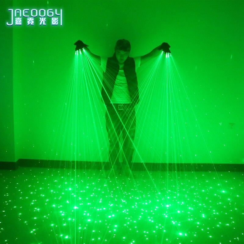 2 en 1 nuevos guantes láser verdes de alta calidad para discoteca bar fiesta baile cantante accesorios de baile DJ guantes mecánicos luz LED