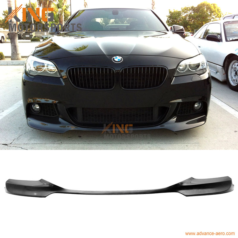 Fits 2011-2016 <font><b>BMW</b></font> <font><b>F10</b></font> 5 Series 4Dr Sedan V Style Front <font><b>Bumper</b></font> Lip Unpainted Black PU image