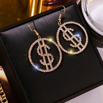 Unique Design US Dollar Money Drop Crystal Earrings For Women Round Earrings for Women Trendy Jewelry.jpg 350x350 - Unique Design US Dollar Money $ Drop Crystal Earrings For Women Round Earrings for Women Trendy Jewelry Gifts