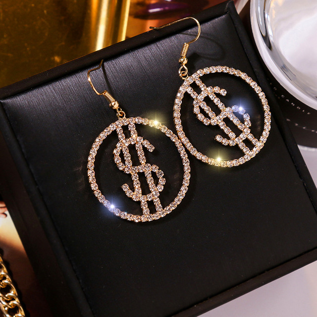 Unique Design US Dollar Money Drop Crystal Earrings For Women Round Earrings for Women Trendy Jewelry.jpg 640x640 - Unique Design US Dollar Money $ Drop Crystal Earrings For Women Round Earrings for Women Trendy Jewelry Gifts