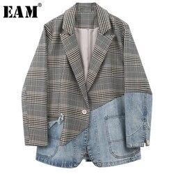 [EAM]  Women Blue Plaid Denim Split Blazer New Lapel Long Sleeve Loose Fit  Jacket Fashion Tide Spring Autumn 2020 1W813