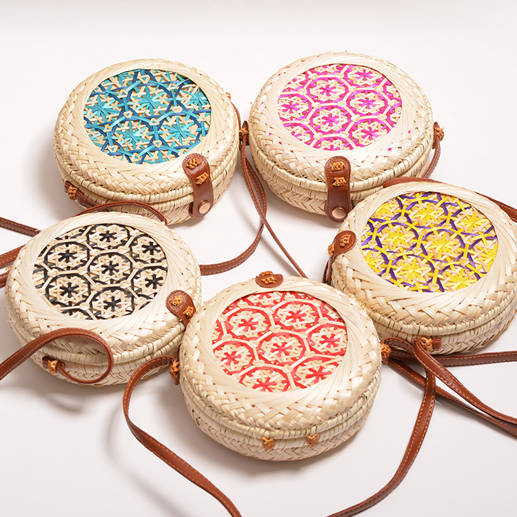 Lovevook Woven Rattan Bags For Women Round Bamboo Bag Bohemia Summer Beach Bag 2020 Handmade Crossbody Messenger Bags For Ladies