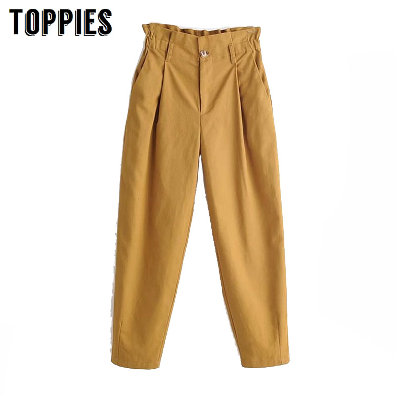 2020 Spring Harem Pants High Waist Trousers Pleated Cargo Pants Women Casual Streetwear pantalones mujer