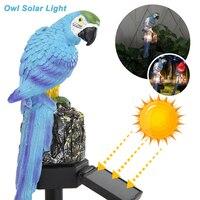 Luz Solar LED con forma de búho para exteriores, luz Solar, adorno de búho, pájaro, decoración al aire libre, escultura impermeable