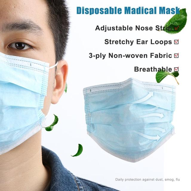 Disposable  Mouth Mask  Non-woven Ear Loop Anti-Dust Facial Protective Cover Masks bacteria proof Flu Face Masks 1