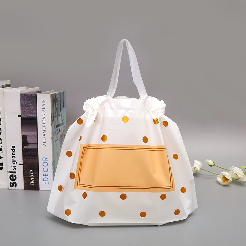 Round Party Dots With Handles Wedding Black Plastic Packaging Thick Matte Gift Store Shopping Bags Clothing Large Bag Bag 50pcs