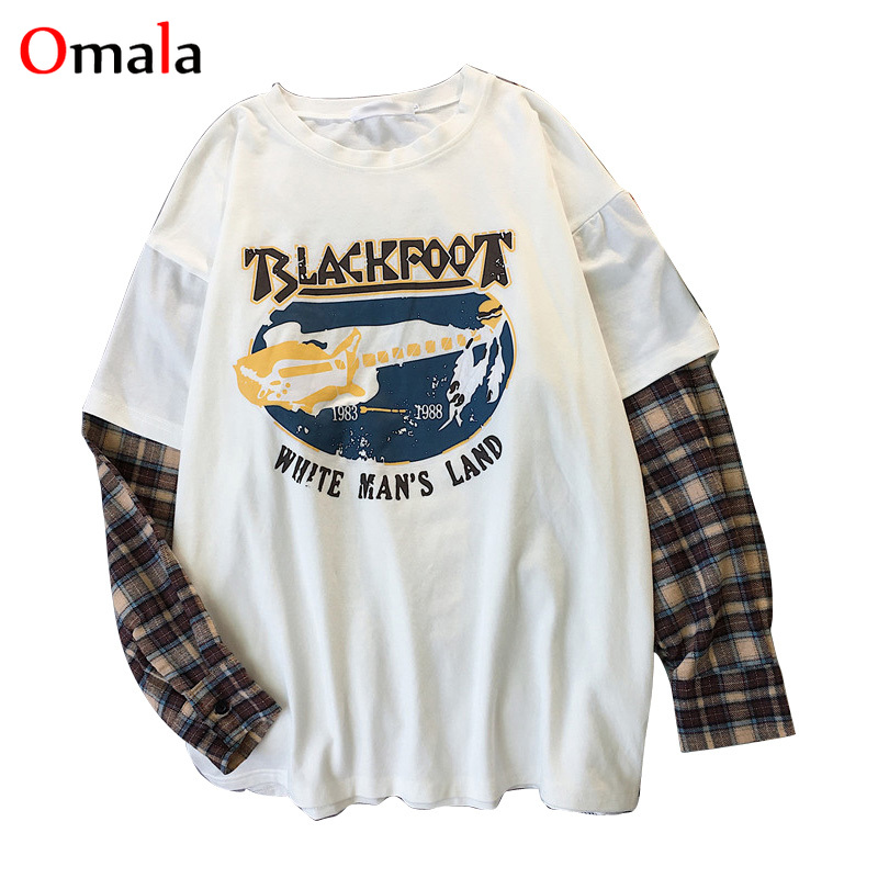 Korean Simple oversized graphic tees Women shirts fashion Long Sleeve tshirt Leisure Plaid patchwork t shirt white black tops 5