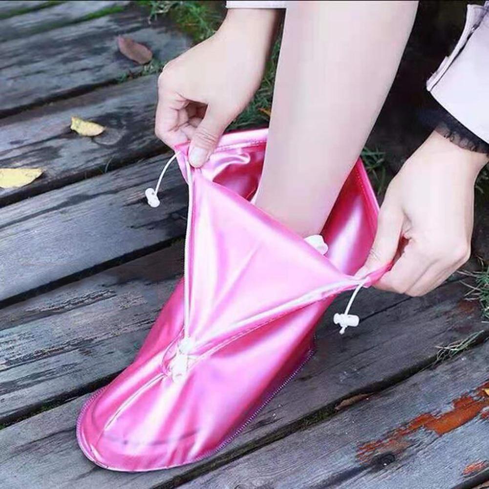 Waterproof Rain Reusable Shoes Cover Slip-resistant Zipper Rain Boots Overshoes Shoes Protectors Rain Boots Outdoor Rainy Days