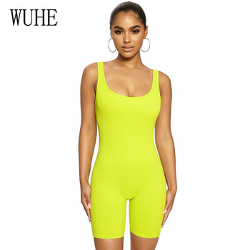 WUHE Summer Women Casual Jumpsuit Big Round Neck Sleeveless Cotton Knitted Bodycon Jumpsuit Solid Color Rompers Women Paysuit casual sleeveless round neck detachable women s jumpsuit
